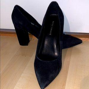 MARC FISHER Daniela black suede block heel pump